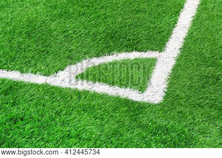 The Corner Of A Soccer Field Close Up. Corner In Football. Corner Markings On The Football Field. Gr
