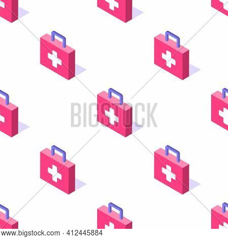 First Aid Kit Box 3d Isometric Seamless Pattern, Rescue Antibiotic Concept Poster And Banner Design