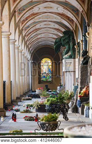 Prague, Czech Republic - February 24, 2021. Famous Graveyard In Vysehrad Fort With Buried Celebritie