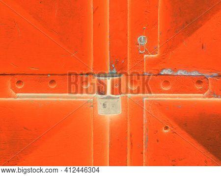Door Lock System Detail. Blue Industrial Double Door With Rusty Marks. Massive Hardened Latch Lock.