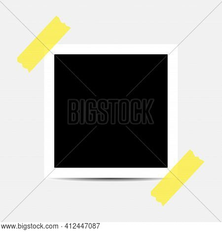 Old Photo Empty Frame Isolated On Transparent Background. Blank Instant Frame Vector Illustration, T
