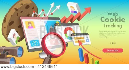 3d Vector Conceptual Illustration Of Web Cookie Tracking.