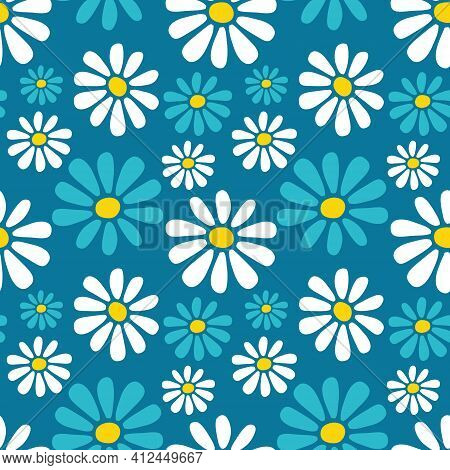 Decorative Vector Seamless Floral Pattern With Hand Drawn White And Blue Daisy Flowers On Blue Green