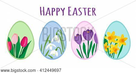 Colorful Easter Eggs Decorated With Cute Spring Flowers. Tulips, Crocuses, Daffodils And Snowdrops.