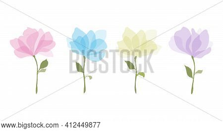 Set Of Colorful Watercolour Transparent Colours Style Vector Illustration Of Rose Flowers With Large