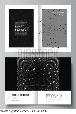 Vector Layout Of Two A4 Cover Mockups Design Templates For Bifold Brochure, Flyer, Cover Design, Boo