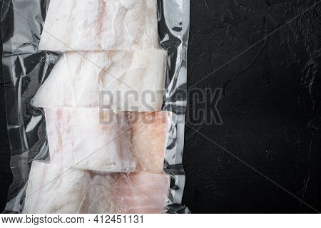 Raw Haddock Fish Skinless Plastic Vacuum Packaged, Top View With Copy Space For Text