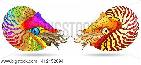 A Set Of Illustrations In The Stained Glass Style With Bright Nautilus Clams, Animals Isolated On A