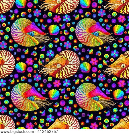 Seamless Pattern With Bright Nautilus, Shells And Fish, Animals On A Dark Background