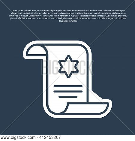 Blue Line Torah Scroll Icon Isolated On Blue Background. Jewish Torah In Expanded Form. Star Of Davi
