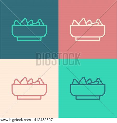 Pop Art Line Nachos In Bowl Icon Isolated On Color Background. Tortilla Chips Or Nachos Tortillas. T