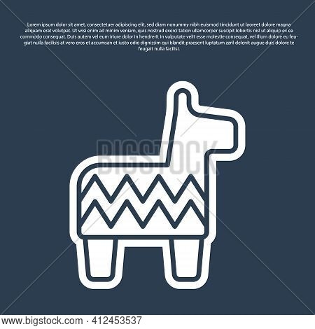 Blue Line Pinata Icon Isolated On Blue Background. Mexican Traditional Birthday Toy. Vector