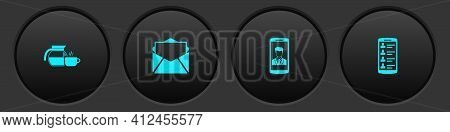 Set Coffee Pot With Cup, Mail And E-mail, Smartphone Contact And Contacts Icon. Vector