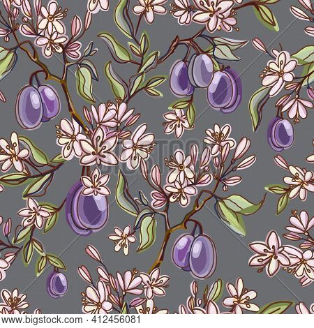 Seamless Pattern With Plums Fruits And Flowers, Buds, Leaves. Flowering Branch With Plums. Summer Fo
