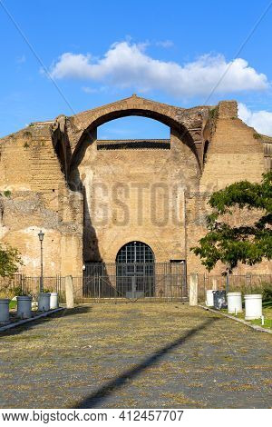 Rome, Italy - October 10, 2020: 3rd Century Baths Of Diocletian, Ruins Of Ancient Roman Public Baths