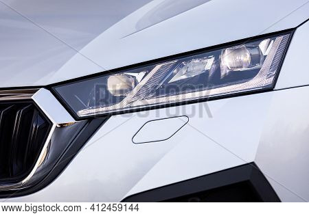 Front Light Of A New Silver Car