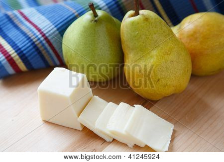 Sliced Cheese And Bartlett Pears