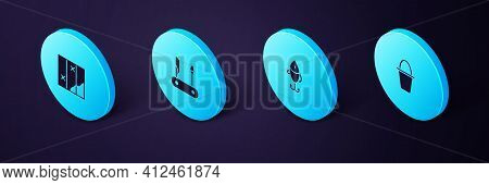 Set Isometric Fishing Bucket, Lure, Swiss Army Knife And Folded Map Icon. Vector