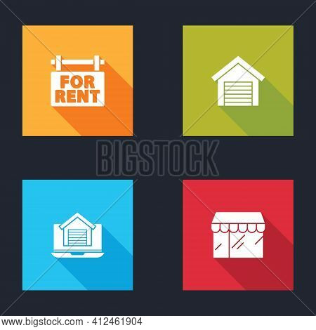 Set Hanging Sign With For Rent, Garage, Online Real Estate House And Market Store Icon. Vector