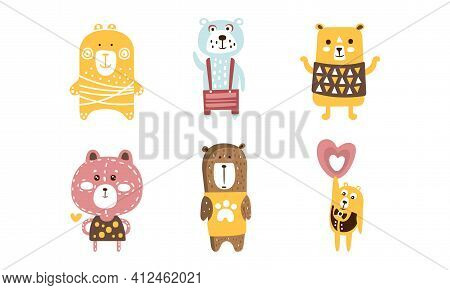 Cute Adorable Bears Set, Lovely Forest Animal Characters, Childish Stickers, Patches, Decorative Des