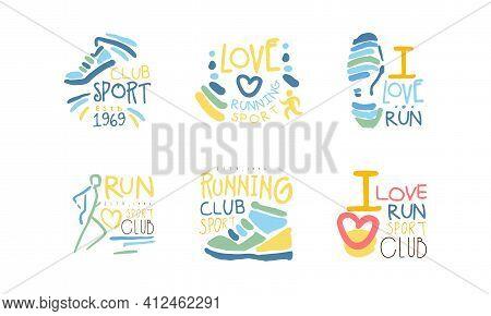 Run Sport Club Logo Design Set, Fitness Studio, Sport Tournament, Marathons Emblems Hand Drawn Vecto