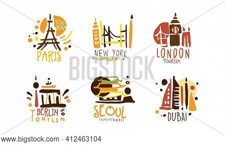 Touristic Logo Templates Design, Travel Over The World, Paris, Dubai, London, Berlin, Seoul, New Yyo