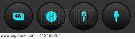 Set 4k Ultra Hd, Cd Or Dvd Disk, Microphone And Icon. Vector