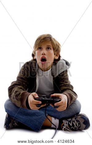 Front View Of Amazed Kid Playing Computer Game