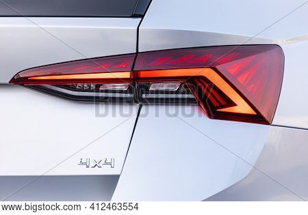 Backlight Of A New Silver Car, 4x4 Vehicle