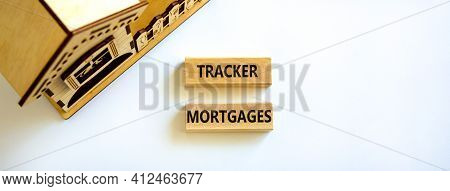 Tracker Mortgage Symbol. Concept Words 'tracker Mortgage' On Wooden Blocks On A Beautiful White Back