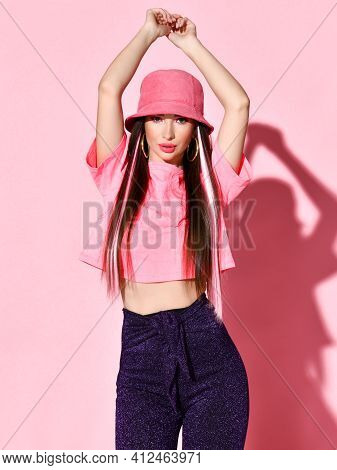 Stylish Beauty Studio Portrait Of Teenager Girl Model Isolated On Pink Background. Happy Chic Young