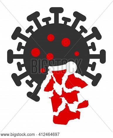 Damaged Coronavirus Icon. Illustration Style Is A Flat Iconic Symbol Isolated On A White Background.