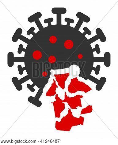 Damaged Coronavirus Icon. Illustration Style Is A Flat Iconic Symbol. Simple Damaged Coronavirus Vec