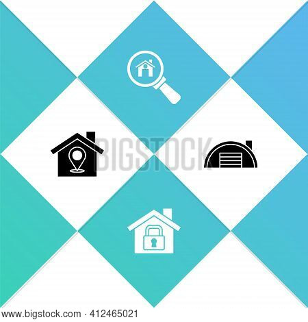 Set Location With House, House Under Protection, Search And Warehouse Icon. Vector