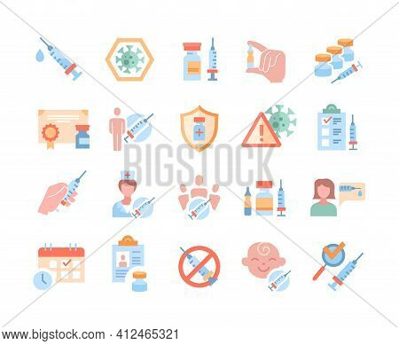 Large Set Of Vaccine And Medical Icons With Hypodermic Syringes, Doses In Bottles, Nurse, Patients,