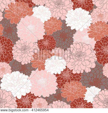 Seamless Repeating Pattern With Hand Drawn Chrysanthemum Flowers In Grey, Maroon, Peach Pink, Terrac