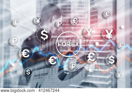 Blue Financial Forex Background. Trading Trading Stocks Bonds