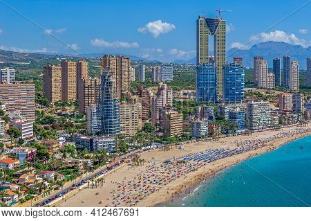 Benidorm, Spain - August 14, 2020: View Of Skyscrapers Of The City From The Tossal De La Cala, A Hil