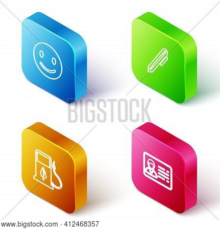 Set Isometric Line Smile Face, Pen, Bio Fuel With Fueling Nozzle And Identification Badge Icon. Vect