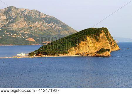 St. Nicholas Island In Budva. Montenegro. Island In The Adriatic Sea Is Located Opposite Budva. Hawa