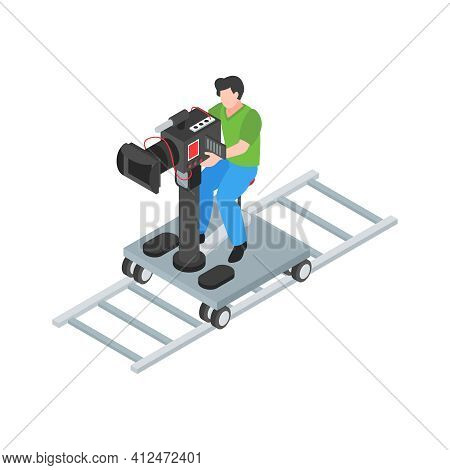 Isometric Cinematography Composition With Isolated Character Of Cameraman With Camera On Rails Vecto