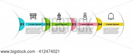 Set Line Japan Gate, Church Pastor Preaching, Priest And Bell. Business Infographic Template. Vector