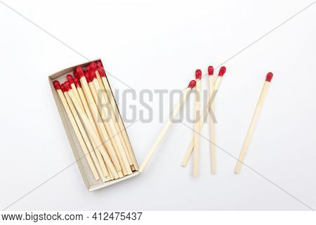Matches. Large Matches For Barbecue, Grill. Isolated Matches On White Background Set Of Matches In A