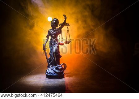 Law Concept. Miniature Colorful Artwork Decoration With Fog And Backlight. The Statue Of Justice - L