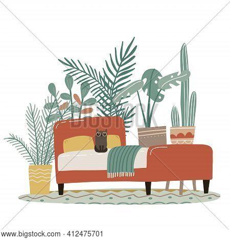 Scandinavian Cozy Detailed Boho Style Bedroom Interior, Millennial Lifestyle, No People, Cozy Interi