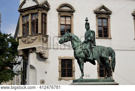 Budapest, Hungary - 23 August 2013: Statue In Tribute To Andras Hadik In The Buda Castle District