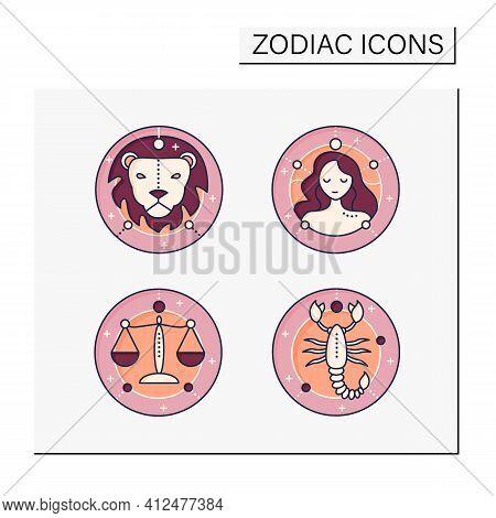 Zodiac Color Icons Set. Fourth Fire Signs In Zodiac. Birth Symbols. Leo, Virgo, Scorpio, Libra. Myst
