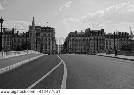 Paris, France - July 9, 2013 : Wide Angle View Of A Bridge In Paris France In Black And White