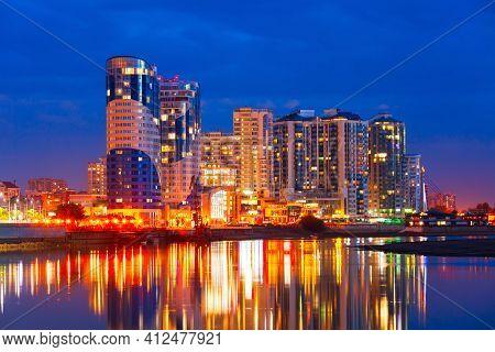 Krasnodar City And Kuban River Skyline Aerial Panoramic View At Night. Krasnodar Is The Largest City