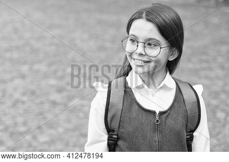 Nerdy Look. Happy Child Wear Eyeglasses In Uniform. Back To School Look. Cute Nerd. School Fashion.